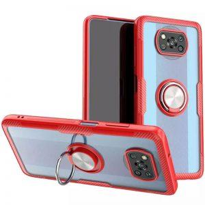 Cиликоновый чехол Deen CrystalRing c креплением под магнитный держатель для Xiaomi Poco X3 NFC / Poco X3 – Красный