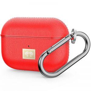 Чехол для наушников Leather Type + карабин для Apple Airpods Pro – Красный
