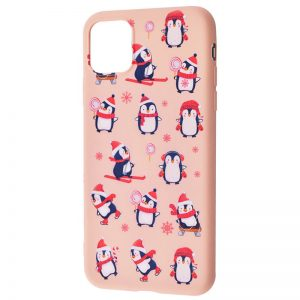 TPU чехол WAVE New Year Case для Iphone 12 Mini – Penguins / Pink sand