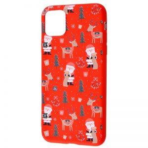 TPU чехол WAVE New Year Case для Iphone 12 Mini – Santa Claus and Deer / Red