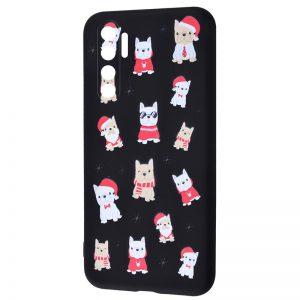 TPU чехол WAVE New Year Case для Xiaomi Mi Note 10 Lite – Dogs / Black
