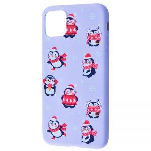 TPU чехол WAVE New Year Case для Iphone 12 Mini – Penguins / Light purple