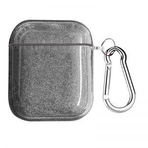 Чехол для наушников Shine + карабин для Apple Airpods 1/2 – Серебряный