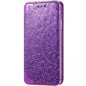 Кожаный чехол-книжка GETMAN Mandala для Huawei P Smart 2021 / Y7a – Фиолетовый