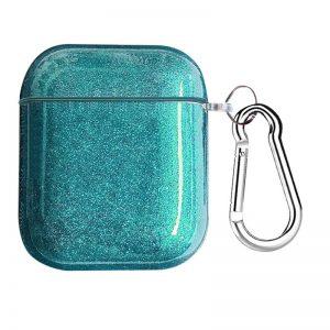 Чехол для наушников Shine + карабин для Apple Airpods 1/2 – Голубой