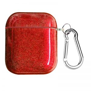 Чехол для наушников Shine + карабин для Apple Airpods 1/2 – Красный