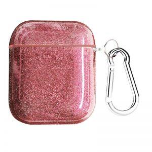 Чехол для наушников Shine + карабин для Apple Airpods 1/2 – Розовый