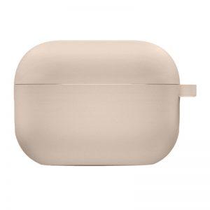 Силиконовый чехол для наушников с микрофиброй для Apple Airpods Pro – Розовый / Pink Sand