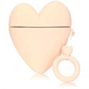 Силиконовый чехол для наушников Lucky Heart series + кольцо для Apple Airpods 2 – Розовый