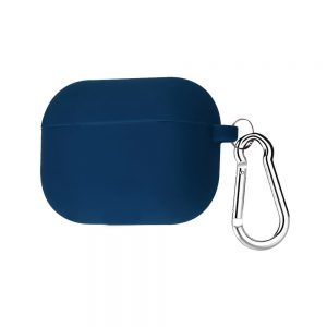 Силиконовый чехол для наушников + карабин для Apple Airpods Pro – Темно-синий / Midnight blue