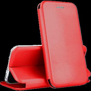 Кожаный чехол-книжка 360 с визитницей для Huawei P Smart 2021 – Красный