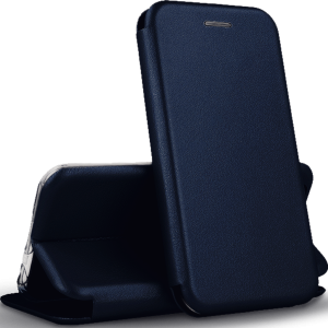 Кожаный чехол-книжка 360 с визитницей для Huawei P Smart Z – Темно-синий
