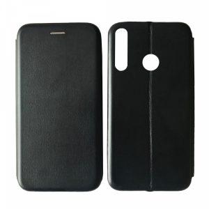 Кожаный чехол-книжка 360 с визитницей для Huawei P40 Lite E / Y7P (2020) – Black
