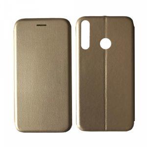 Кожаный чехол-книжка 360 с визитницей для Huawei P40 Lite E / Y7P (2020) – Gold