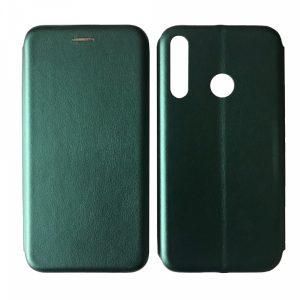 Кожаный чехол-книжка 360 с визитницей для Huawei P40 Lite E / Y7P (2020) – Midnight green