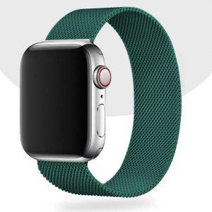 Ремешек Миланская петля Milanese Loop для Apple Watch 42 mm / 44 mm / SE 44 mm – Pine green