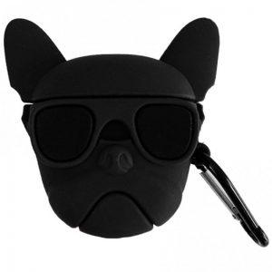 Силиконовый чехол для наушников Bulldog + карабин для Apple Airpods – Бульдог / Черный