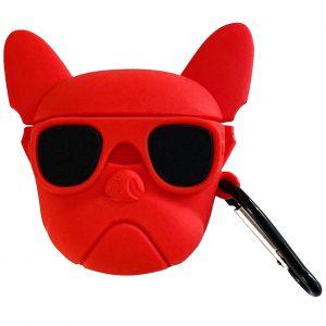 Силиконовый чехол для наушников Bulldog + карабин для Apple Airpods – Бульдог / Красный