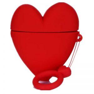 Силиконовый чехол для наушников Lucky Heart series + кольцо для Apple Airpods 2 – Красный