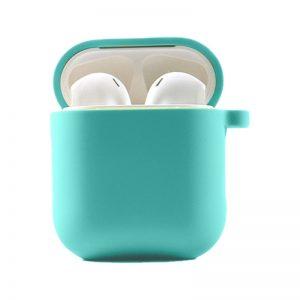 Силиконовый чехол для наушников с микрофиброй для Apple Airpods 1/2 – Бирюзовый / Ice Blue