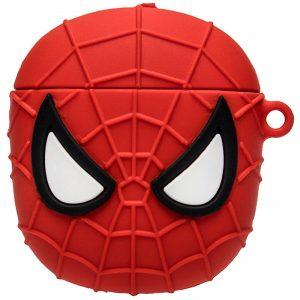 Силиконовый чехол для наушников Marvel & DC series + карабин для Apple Airpods – Spider man / Красный