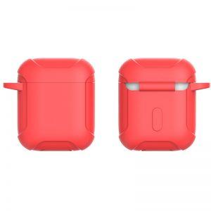 Силиконовый чехол для наушников Armor + карабин для Apple Airpods – Красный