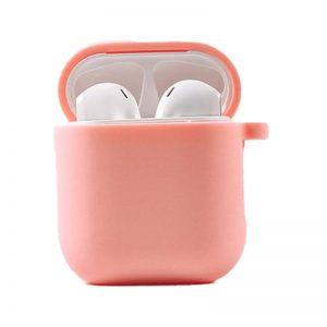 Силиконовый чехол для наушников с микрофиброй для Apple Airpods 1/2 – Розовый / Peach