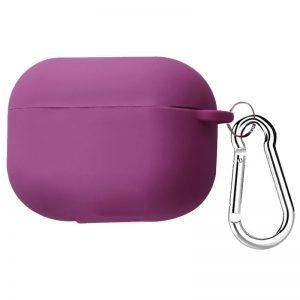 Силиконовый чехол для наушников + карабин для Apple Airpods Pro – Фиолетовый / Grape