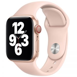 Ремешок силиконовый для Apple Watch 42 mm / 44 mm / SE 44 mm – Розовый / Pink Sand