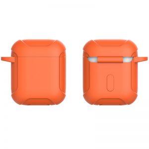Силиконовый чехол для наушников Armor + карабин для Apple Airpods – Оранжевый