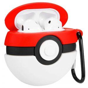 Силиконовый чехол для наушников Pokemon series + карабин для Apple Airpods – Покебол / Красно-белый