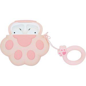 Силиконовый чехол для наушников Paw + кольцо для Apple Airpods – Розовый