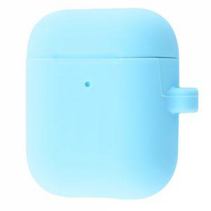 Чехол для наушников Silicone Case Slim + карабин для Apple Airpods 2 – Sky blue
