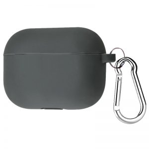 Силиконовый чехол для наушников + карабин для Apple Airpods Pro – Серый / Dark Grey