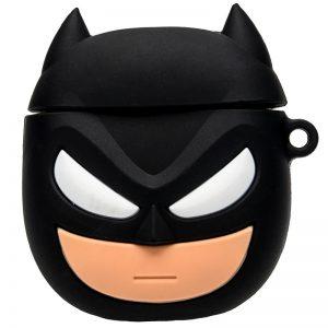 Силиконовый чехол для наушников Marvel & DC series + карабин для Apple Airpods – Бетмен / Черный
