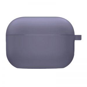 Силиконовый чехол для наушников с микрофиброй для Apple Airpods Pro – Серый / Lavender Gray