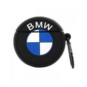 Силиконовый чехол для наушников Logo series + карабин для Apple Airpods – BMW / Черный