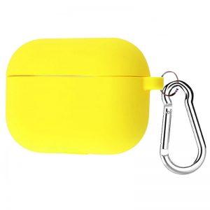 Силиконовый чехол для наушников + карабин для Apple Airpods Pro – Желтый / Bright Yellow