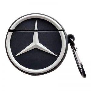 Силиконовый чехол для наушников Logo series + карабин для Apple Airpods – Mercedes / Черный