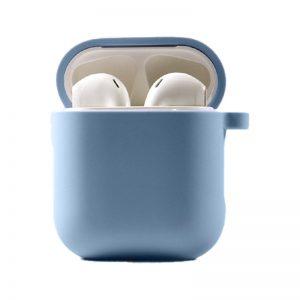Силиконовый чехол для наушников с микрофиброй для Apple Airpods 1/2 – Голубой / Lilac Blue