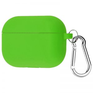Силиконовый чехол для наушников + карабин для Apple Airpods Pro – Зеленый / Green