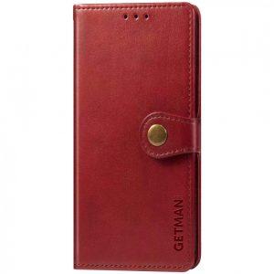 Кожаный чехол-книжка GETMAN Gallant для Samsung Galaxy A12 / M12 – Красный