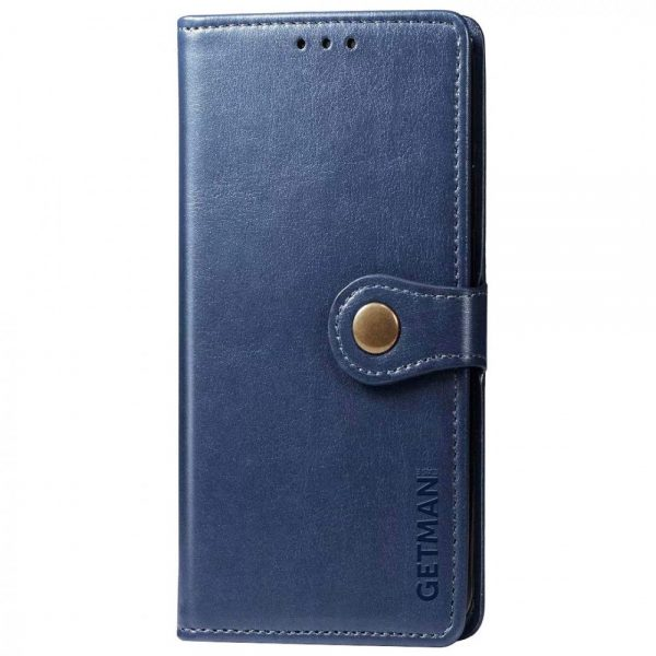 Кожаный чехол-книжка GETMAN Gallant для Xiaomi Redmi Note 10 / Note 10s – Синий