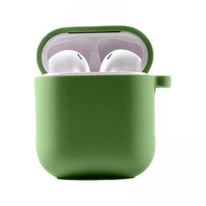 Силиконовый чехол для наушников с микрофиброй для Apple Airpods 1/2 – Мятный / Mint