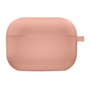 Силиконовый чехол для наушников с микрофиброй для Apple Airpods Pro – Розовый / Peach