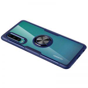 Cиликоновый чехол Deen CrystalRing c креплением под магнитный держатель для Huawei P30 – Синий