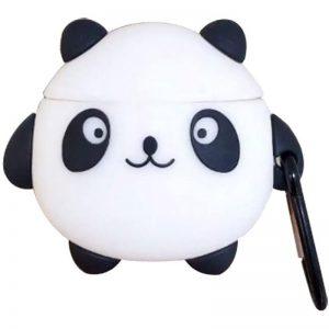 Силиконовый чехол для наушников Panda + карабин для Apple Airpods – Черно-белый