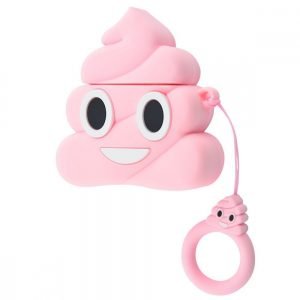 Силиконовый чехол для наушников Poop + кольцо для Apple Airpods – Розовый