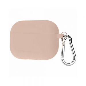 Силиконовый чехол для наушников + карабин для Apple Airpods Pro – Розовый / Light Flamingo