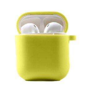 Силиконовый чехол для наушников с микрофиброй для Apple Airpods 1/2 – Желтый / Bright Yellow
